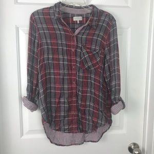 Lucky Brand Red/Gray Plaid buttoned Hi-lo Shirt
